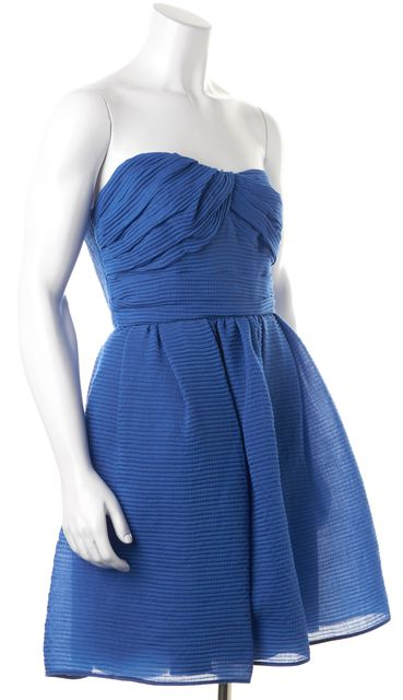 CARVEN Blue Striped Strapless Above Knee Fit & Flare Dress