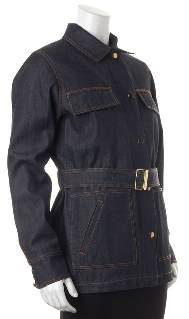 CARVEN Blue Cotton Dark Wash Belted Jean Jacket