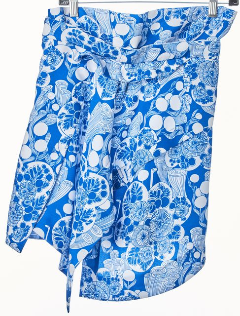 CARVEN Blue White Floral Asymmetrical Skirt