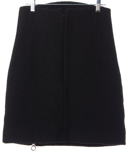 CARVEN Black Textured Wool Above Knee A-Line Skirt