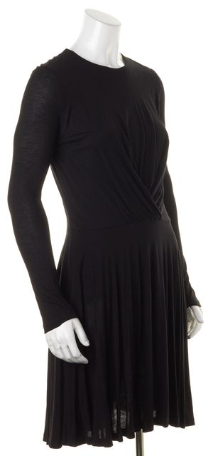 CARVEN Black Draped Long Sleeve Above Knee Sheath Dress
