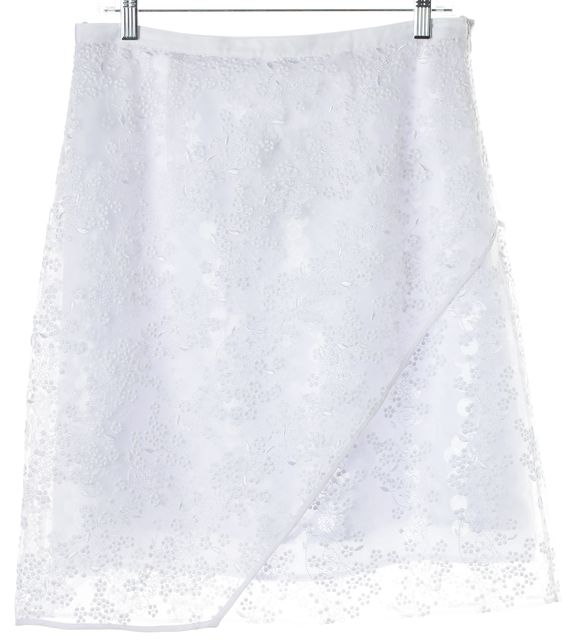 CARVEN White Floral Embroidered Clear Sequined A-Line Skirt