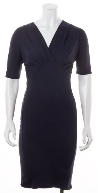 CARVEN Dark Navy Marine Blue Empire Waist Stretch Sheath Dress