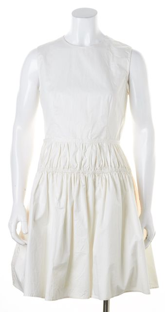 CARVEN White Cotton Sleeveless Above Knee Sheath Dress
