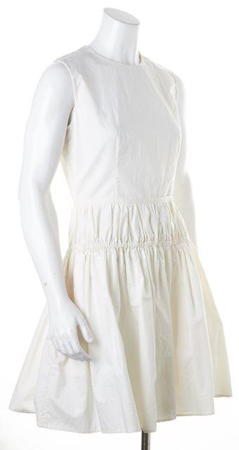 CARVEN White Cotton Sleeveless Above Knee Sheath Dress