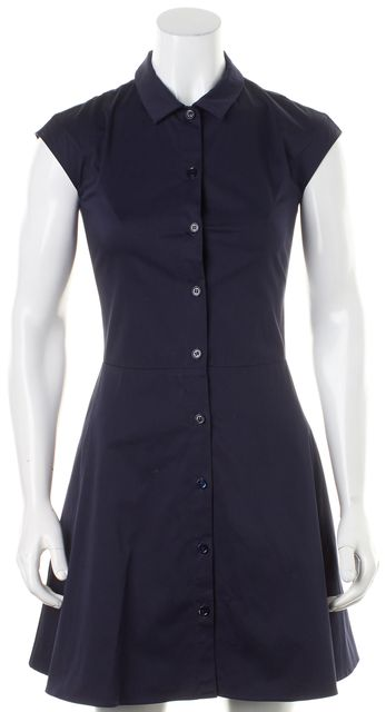 CARVEN Dark Navy Blue Cap Sleeve Button Down Shirt Dress