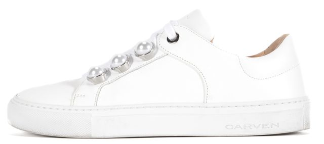 CARVEN White Leather Pearl Detail Lace Up Sneakers
