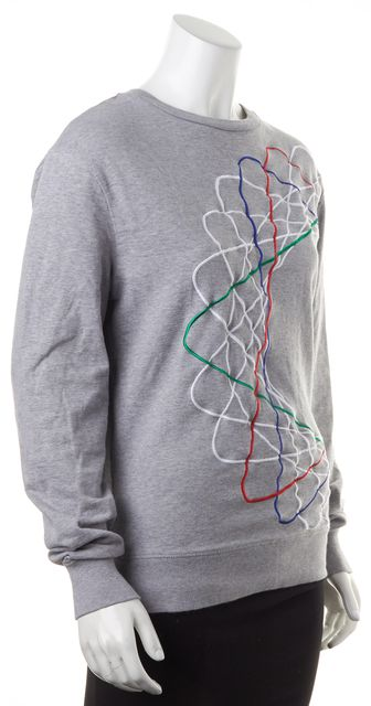 CARVEN Gray White Red Abstract Cotton Crewneck Sweater