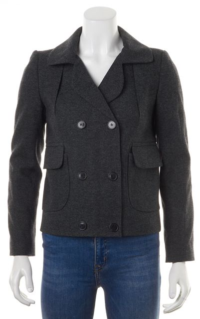 CARVEN Gray Wool Double Breasted Pocket Front Basic Jacket