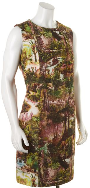 CARVEN Green Tropical Floral Printed Sleeveless Crepon Shift Dress