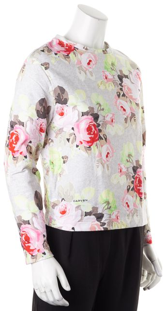 CARVEN Gray Pink Green Floral Cotton Crewneck Sweater