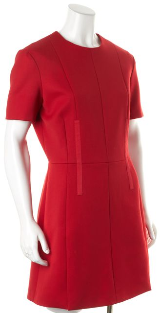 CARVEN Red Wool Short Sleeve Above Knee Sheath Dress