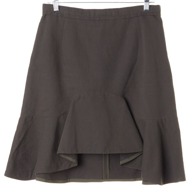 CARVEN Dark Olive Green Cotton Linen Flounce A-Line Skirt