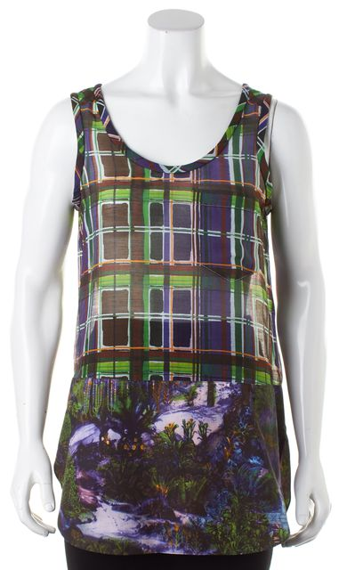 CARVEN Purple Green Abstract Plaid Sleeveless Semi Sheer Blouse