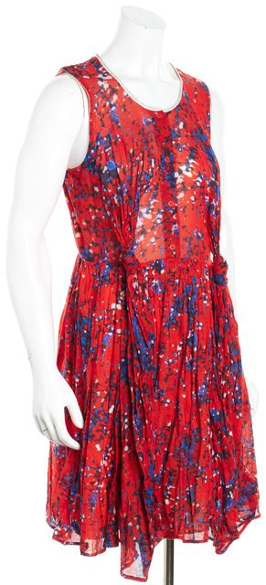 CARVEN Red Blue White Abstract Fit & Flare Dress