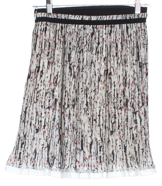 CARVEN White Red Gray Black Trimmed Abstract Pleated Skirt
