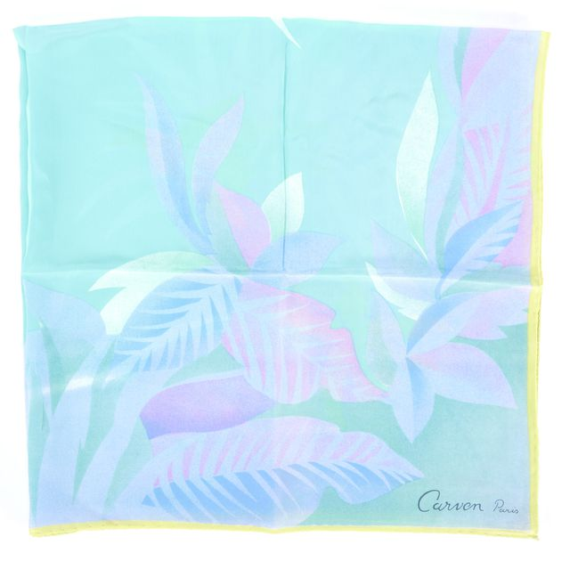 CARVEN Blue Yellow Purple Green Floral Silk Scarf