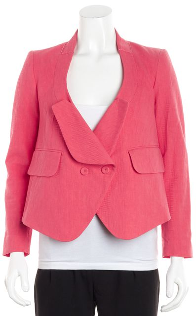 CARVEN Coral Orange Long Sleeve Textured Wool Asymmetrical Bolero Jacket