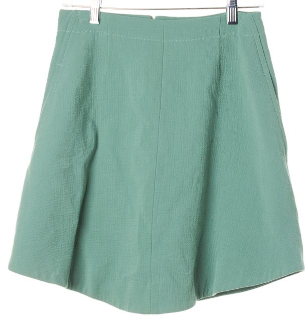 CARVEN Mint Green Seamed Pocket Invisible Zip textured A-Line Skirt