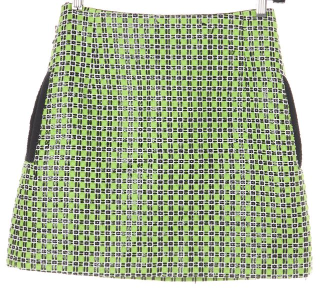 CARVEN Black Green Abstract Mini Skirt