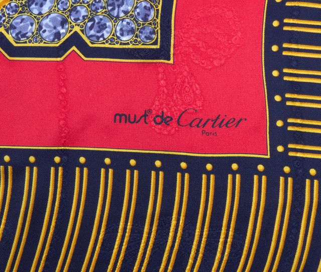 CARTIER Red Black and Gold Graphic Silk Scarf