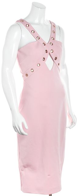 CUSHNIE ET OCHS Pink Gold Embellished Princess Warrior Bodycon Dress