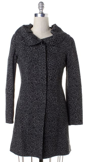 CYNTHIA ROWLEY Gray Black Cheetah Print Wool Trench Coat