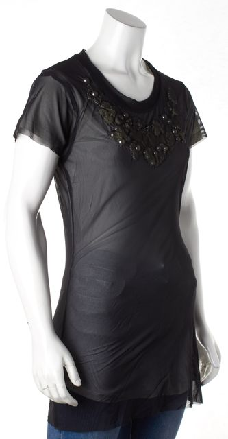CYNTHIA ROWLEY Sheet Black Overlay Blouse Pearl Underlay Detail