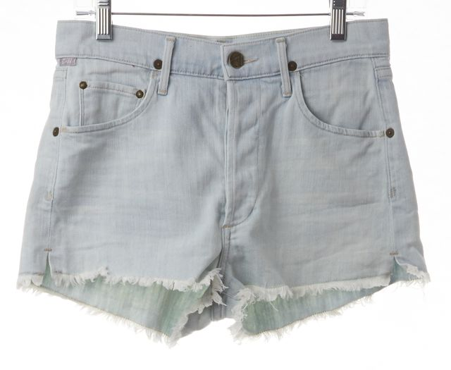 CITIZENS OF HUMANITY Blue Light Wash Frayed Hem Denim Shorts