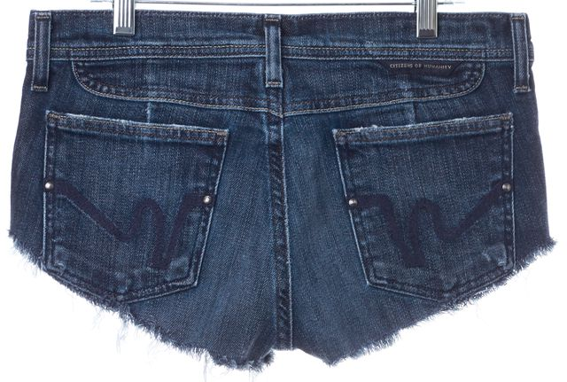 CITIZENS OF HUMANITY Blue Dark Wash Raw Hem Denim Shorts