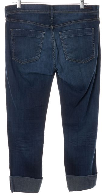 CITIZENS OF HUMANITY Blue Slim Fit Straight Leg Cropped Stretch Jeans