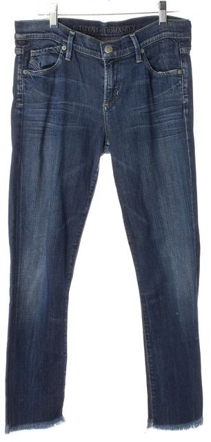 CITIZENS OF HUMANITY Blue Distressed Hem Cropped Skinny Jeans