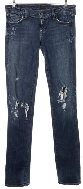 CITIZENS OF HUMANITY Blue Distressed Ava Low Rise Straight Leg Jeans