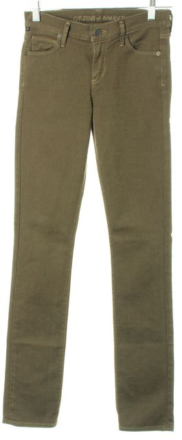 CITIZENS OF HUMANITY Army Green Ava Low Rise Straight Leg Jeans