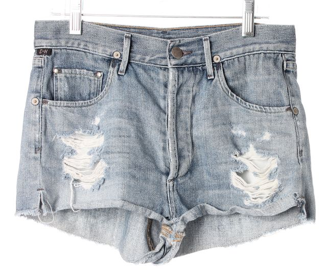 CITIZENS OF HUMANITY Blue Light Wash Distressed Denim Shorts