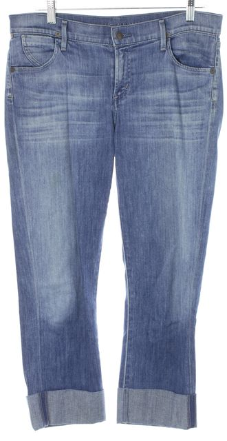 CITIZENS OF HUMANITY Blue Mid-Rise Cropped Straight Leg Jeans