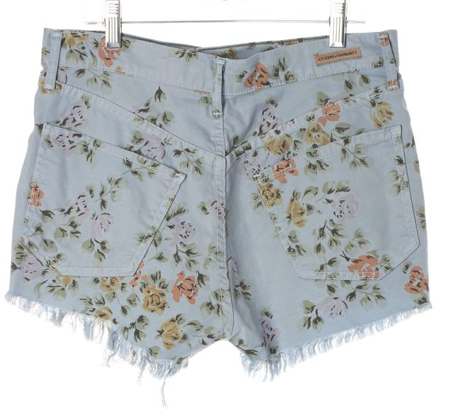 CITIZENS OF HUMANITY Blue Green Pink Floral Frayed Hem Denim Shorts