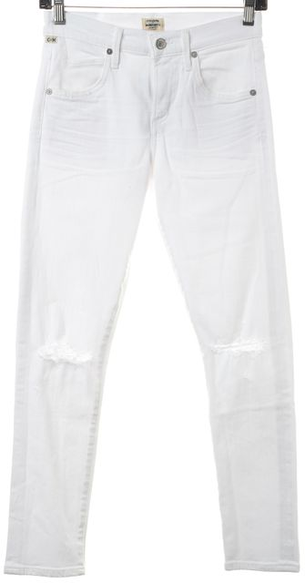 CITIZENS OF HUMANITY White Stretch Cotton Distressed Skinny Jeans