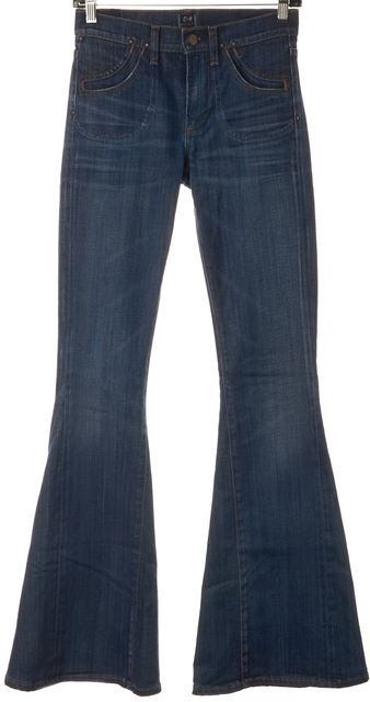 CITIZENS OF HUMANITY Blue Angie Super Flare Slim Fit Boot Cut Jeans