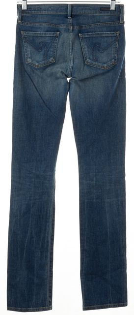 CITIZENS OF HUMANITY Blue Medium Wash Wiskered Straight Leg Jeans