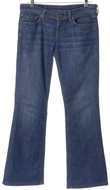 CITIZENS OF HUMANITY Blue Stretch Cotton Indgrid Low Waist Flare Jeans