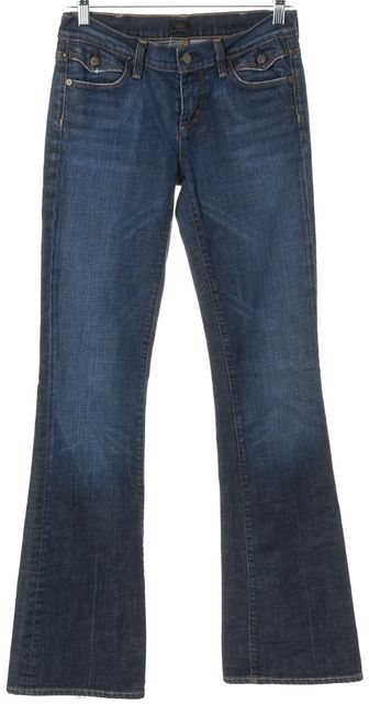 CITIZENS OF HUMANITY Blue Mid-Rise Six Pocket Boot Cut Jeans
