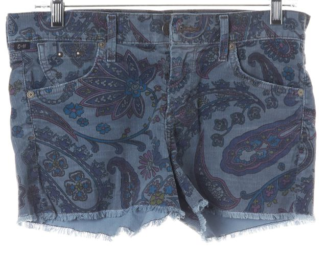CITIZENS OF HUMANITY Blue Purple Paisley Cut-Off Corduroy Shorts
