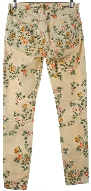 CITIZENS OF HUMANITY Beige Floral Print Mid-Rise Thompson Skinny Jeans