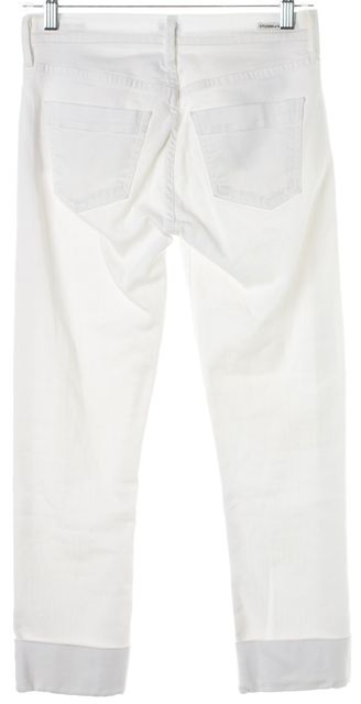 CITIZENS OF HUMANITY White Denim Dani Cropped Straight Leg Cuffed Jeans