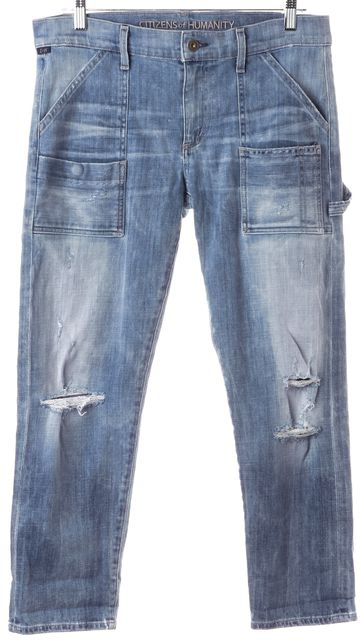 CITIZENS OF HUMANITY Blue Distressed Straight Mid-Rise Cropped Jeans