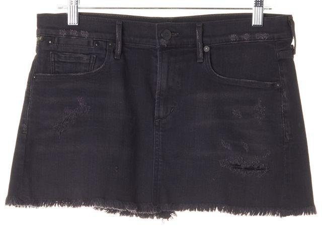 CITIZENS OF HUMANITY Washed Black Distressed Denim Mini Skirt