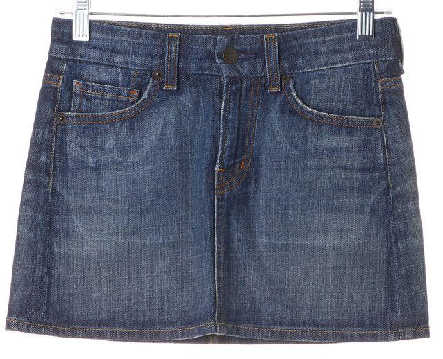 CITIZENS OF HUMANITY Blue Stretch Cotton Denim Brigitte Mini Skirt