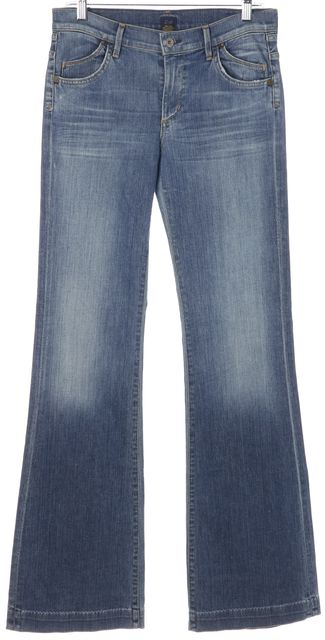 CITIZENS OF HUMANITY Blue Hutton Medium Rise Wide Leg Jeans