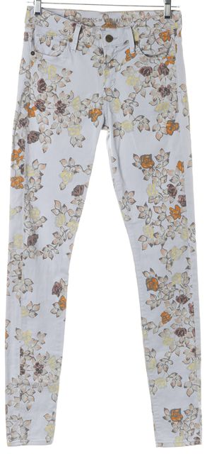 CITIZENS OF HUMANITY Blue Floral Avedon Low-Rise Skinny Leg Jeans